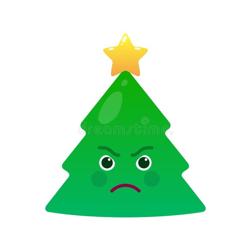 Ilsken isolerad emoticon för julträd vektor illustrationer