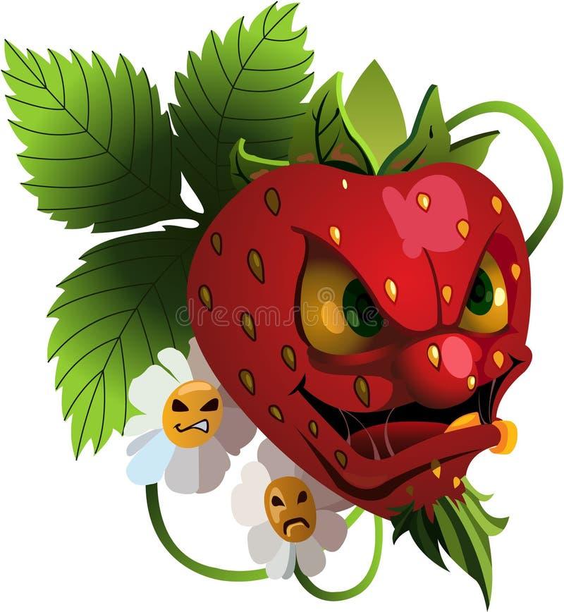 Ilsken jordgubbe för tecknad film royaltyfria bilder