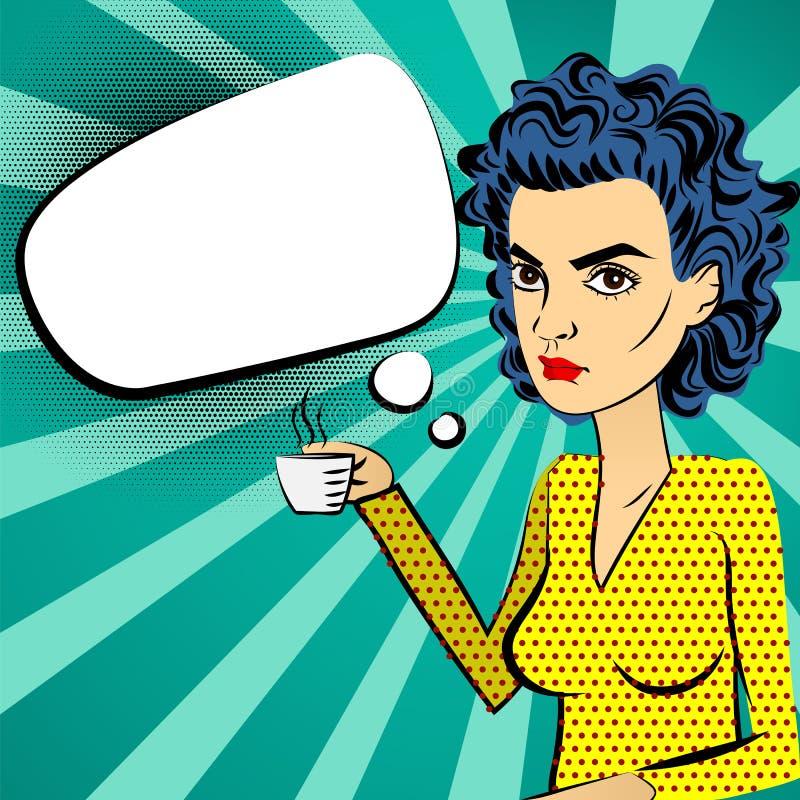 Ilsken konst för pop för kvinnablåtthår som dricker kaffe royaltyfri illustrationer