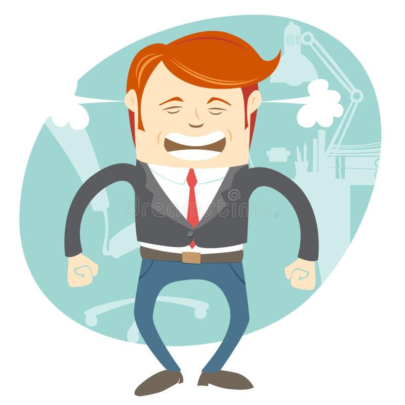 Ilsken kontorsman framme av hans arbetsplats stock illustrationer