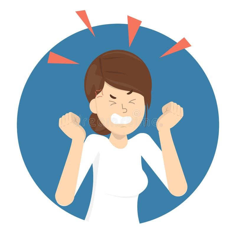 ilsken kvinna Dåligt sinnesrörelse och uttryck på framsida stock illustrationer