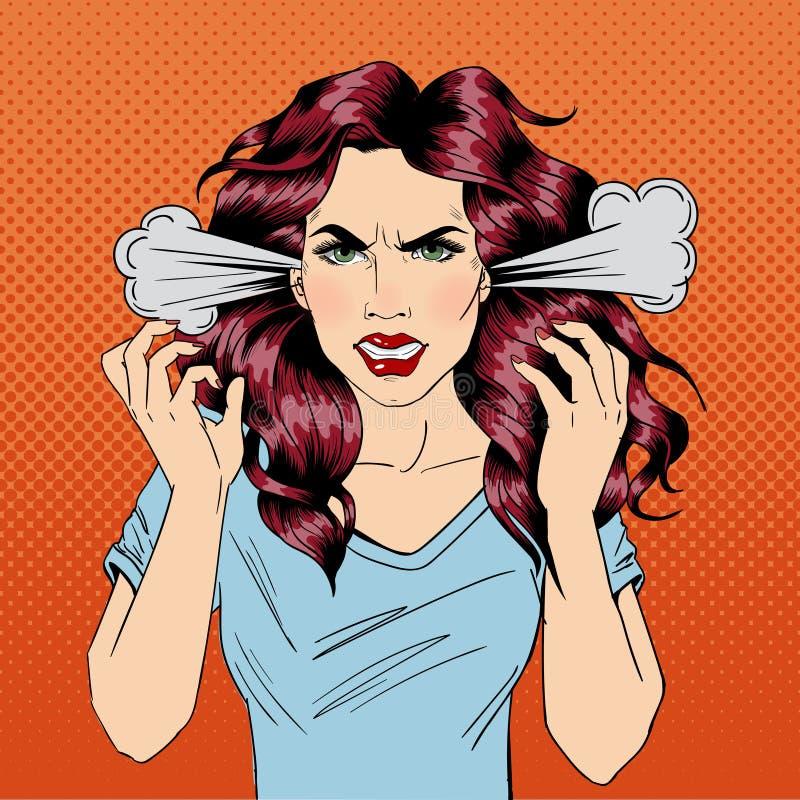 ilsken kvinna Rasande flicka negativa sinnesrörelser Dåliga dagar dålig mood royaltyfri illustrationer