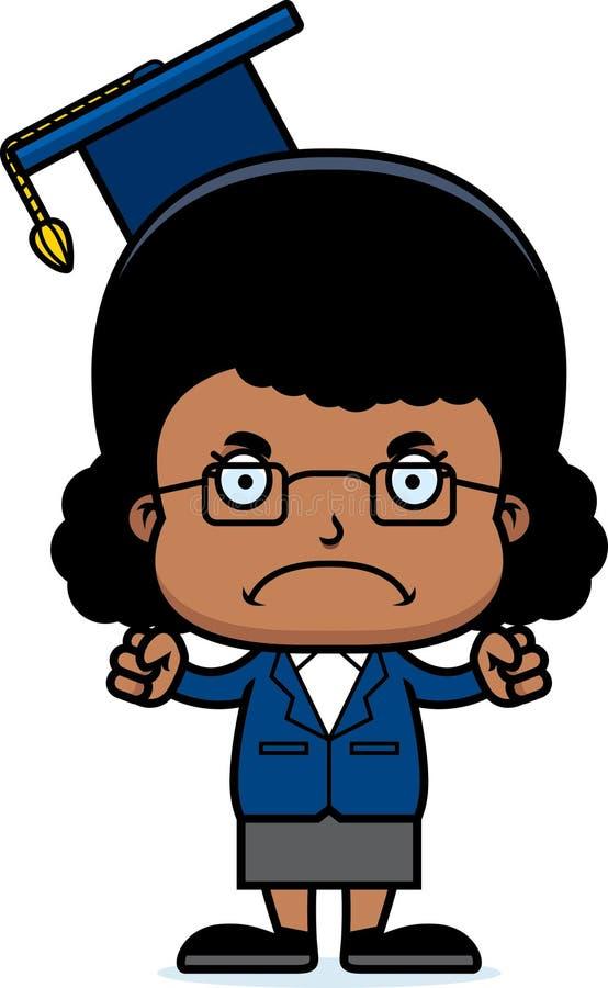 Ilsken lärare Girl för tecknad film royaltyfri illustrationer