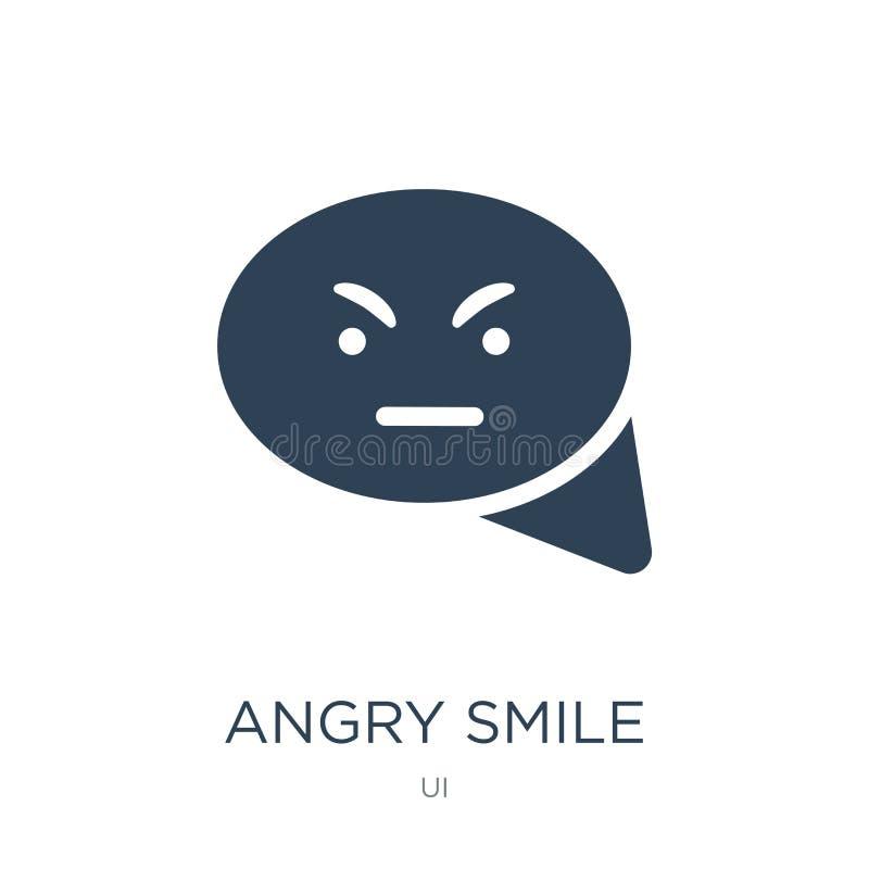 ilsken leendesymbol i moderiktig designstil ilsken leendesymbol som isoleras på vit bakgrund ilsken modern leendevektorsymbol som royaltyfri illustrationer