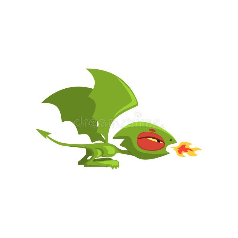 Ilsken liten drakeandningbrand Grön sagavarelse med stora vingar och den långa svansen Plan vektordesign för tecknad film royaltyfri illustrationer