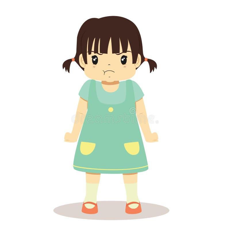 Ilsken liten flickavektorillustration vektor illustrationer