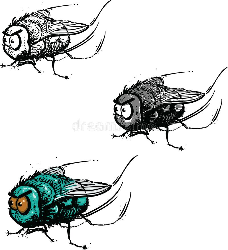 Ilsken liten fluga stock illustrationer