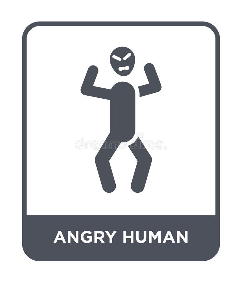 ilsken mänsklig symbol i moderiktig designstil ilsken mänsklig symbol som isoleras på vit bakgrund ilsken mänsklig modern vektors stock illustrationer