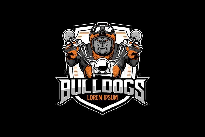 Ilsken mall för logo för emblem för vektor för motorcykel för bulldoggcyklistritt stock illustrationer