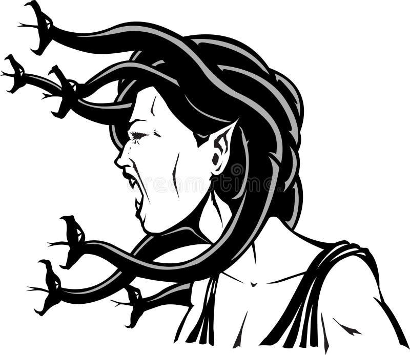 Ilsken Medusa royaltyfri illustrationer