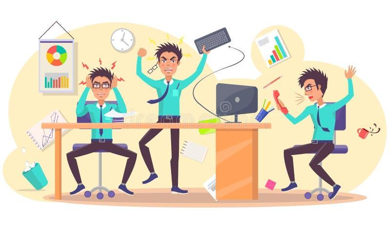 Ilsken person på arbetsvektorn av den förargade affärsmannen royaltyfri illustrationer