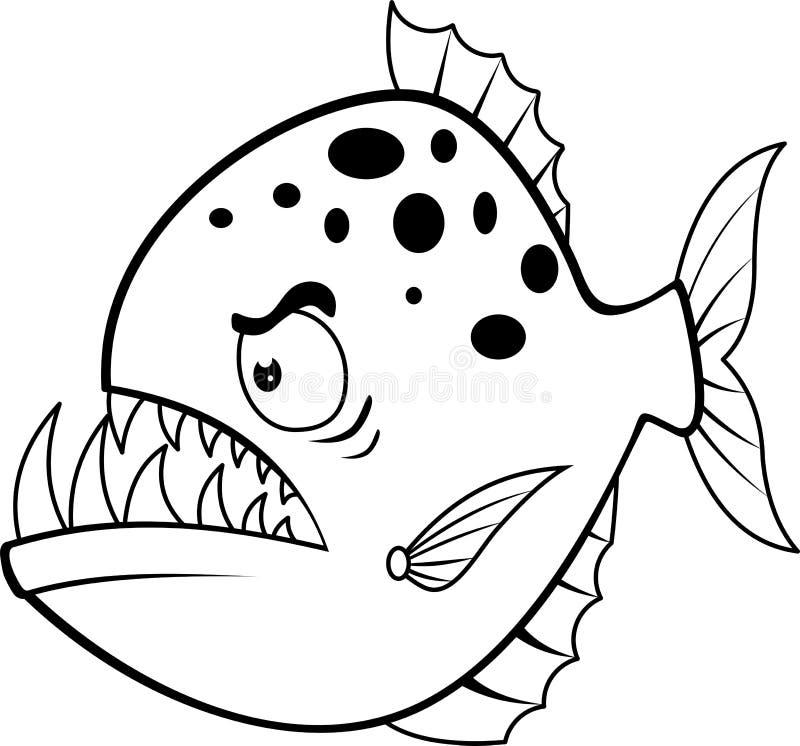 Ilsken piranha för tecknad film royaltyfri illustrationer