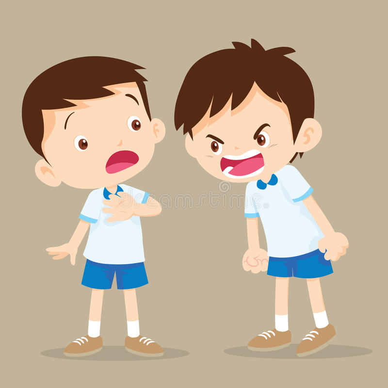 Ilsken pojke som ropar på vännen stock illustrationer