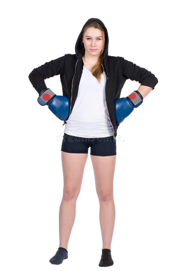 Ilsken seende kvinnlig boxare arkivfoton