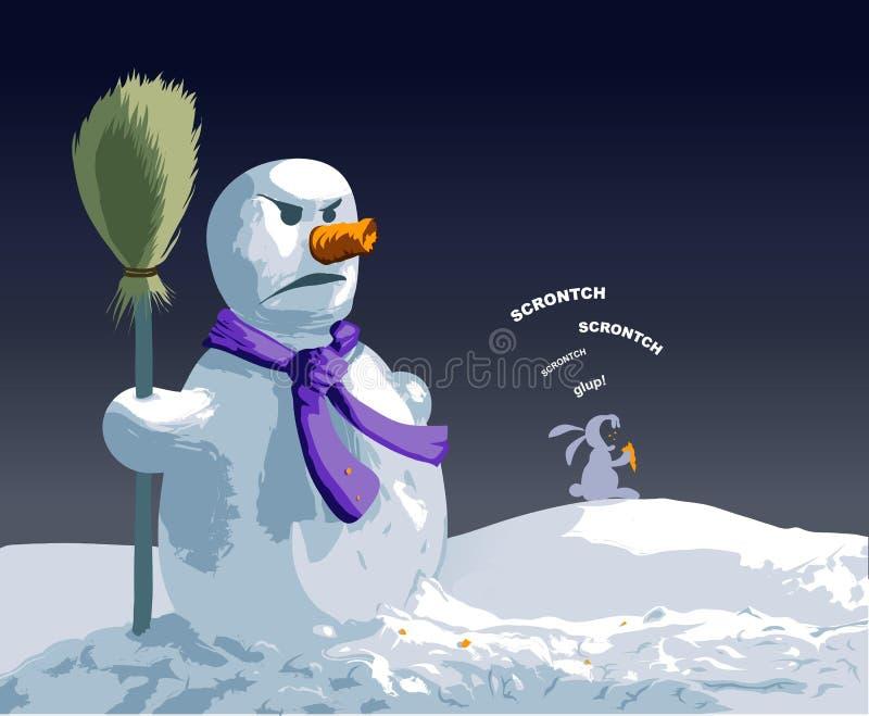 ilsken snowman arkivbilder