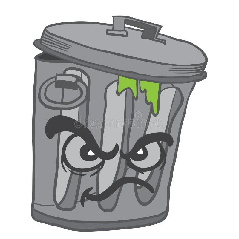Ilsken soptunna stock illustrationer