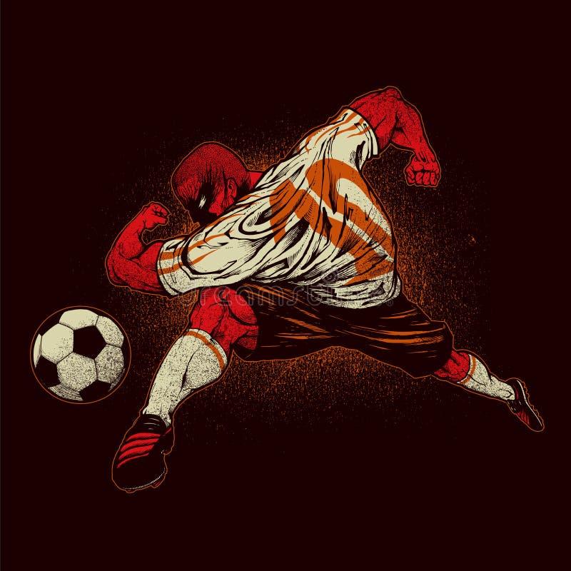 ilsken spelarefotboll royaltyfri illustrationer