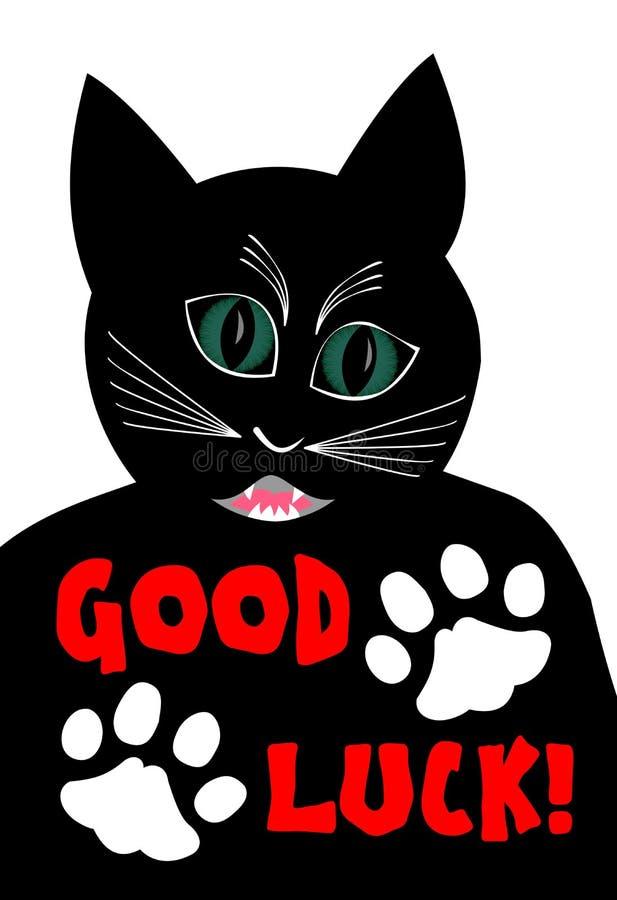 Ilsken svart katt som önskar bra lycka Tecknade filmen av den svarta hankatten på vit bakgrund, katten för två vit tafsar vektor illustrationer