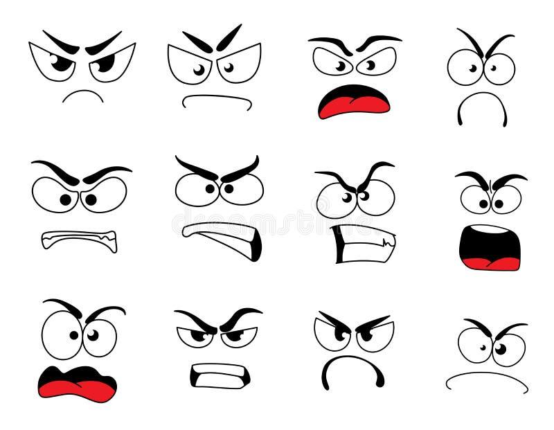 Ilsken symbol för mänsklig framsida av den upprivna emoticonen och emojien royaltyfri illustrationer