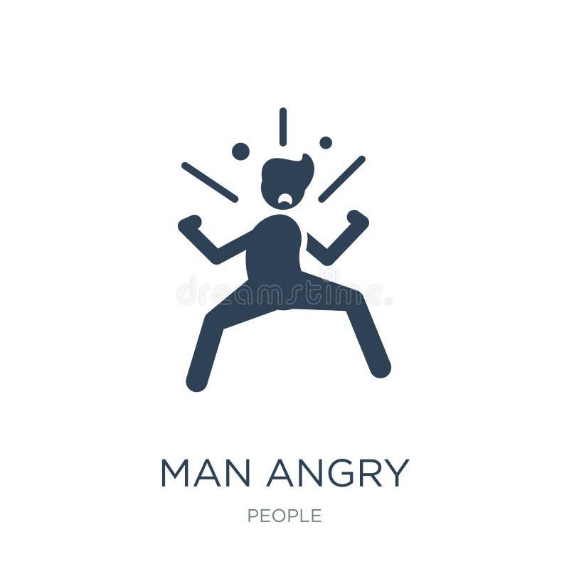 ilsken symbol för man i moderiktig designstil ilsken symbol för man som isoleras på vit bakgrund för ilsken enkel och modern läge vektor illustrationer