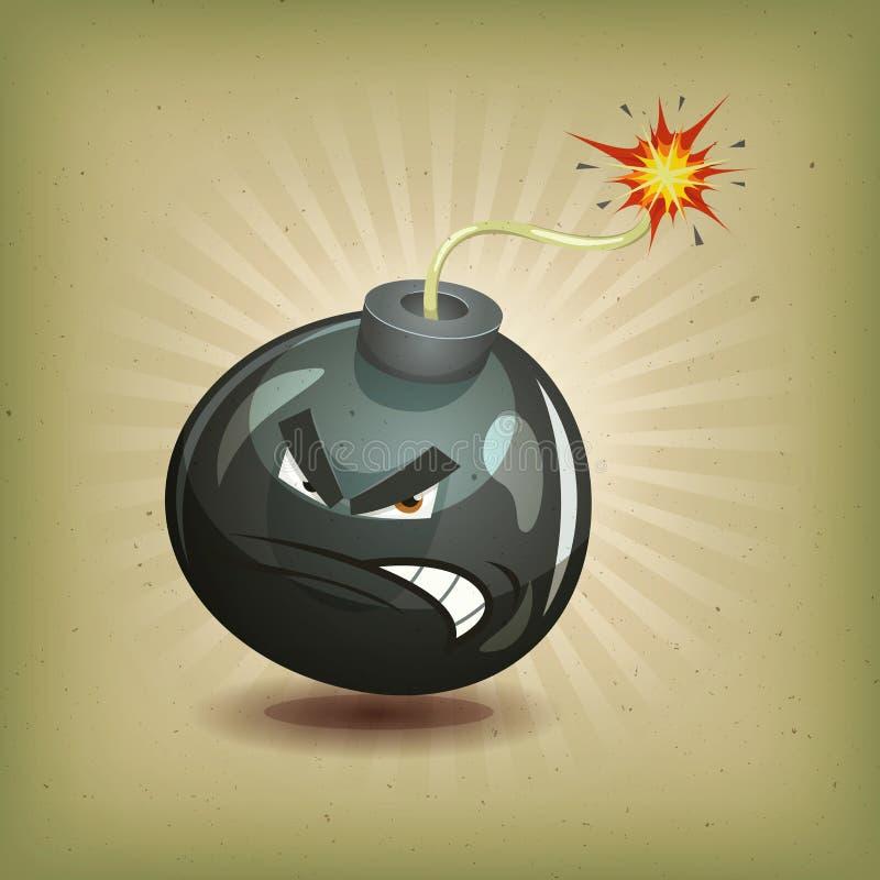 Ilsken tappning bombarderar teckenet royaltyfri illustrationer