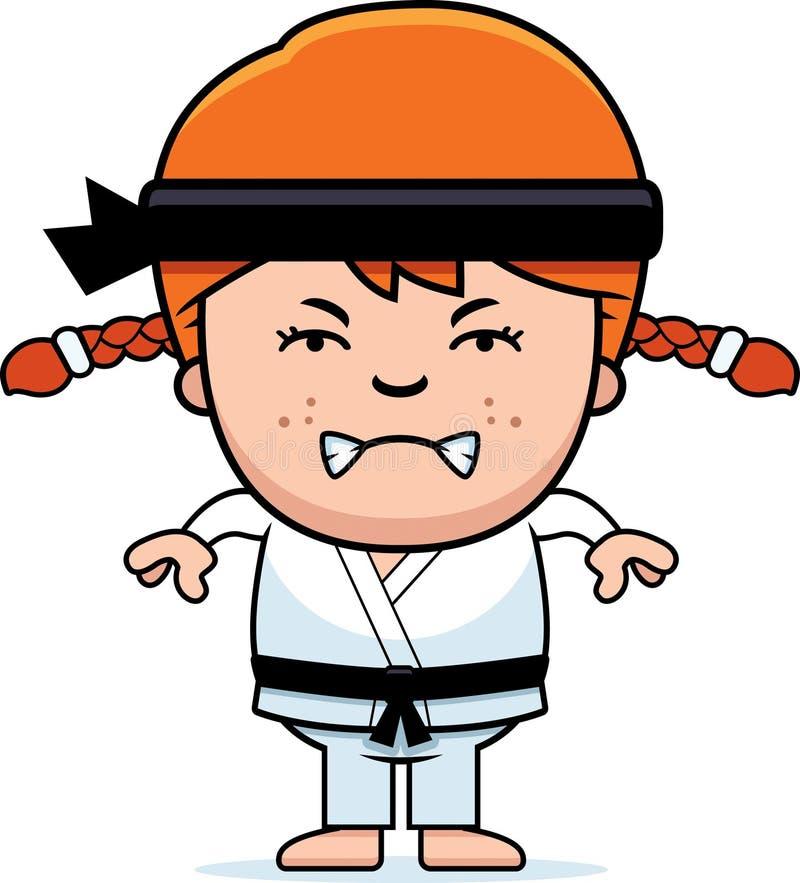 Ilsken tecknad film Karate Kid vektor illustrationer