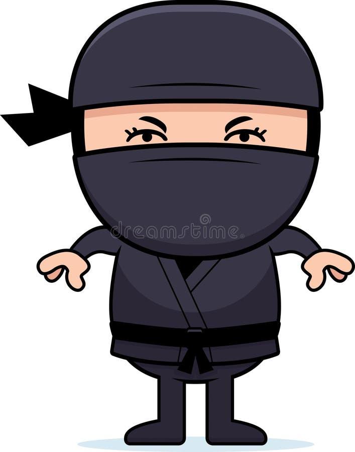 Ilsken tecknad film lilla Ninja stock illustrationer