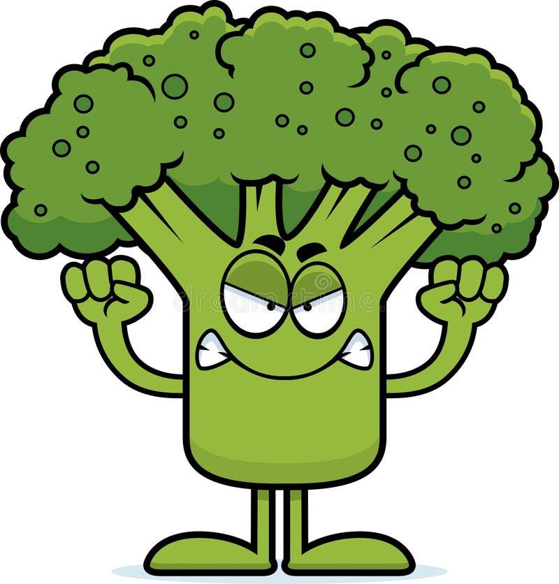 Ilsken tecknad filmbroccoli vektor illustrationer