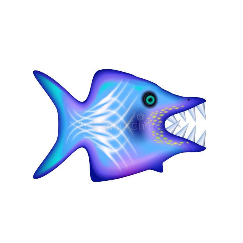 Ilsken tecknad filmfisk med stora tänder Blått roligt isolerat tecken Hav och hav för designen, rengöringsduk, ui som annonserar  vektor illustrationer