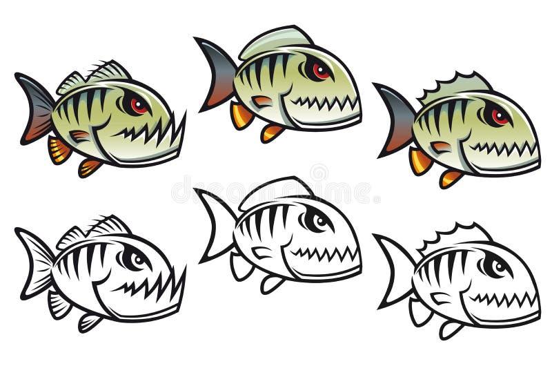ilsken tecknad filmfiskpiranha vektor illustrationer