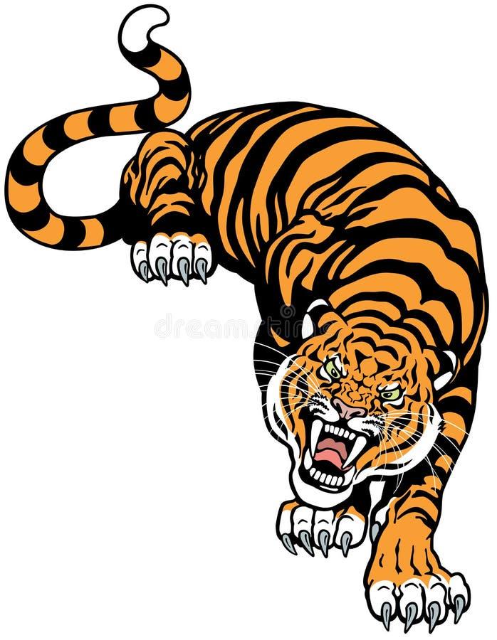 Ilsken tiger vektor illustrationer