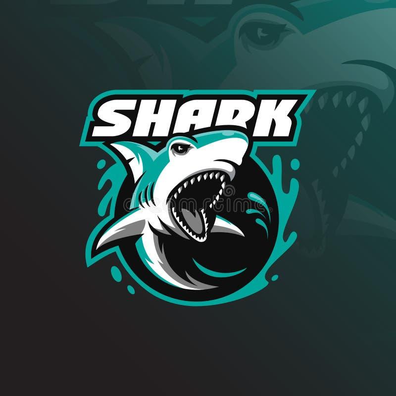 Ilsken vektor för design för hajmaskotlogo med modern illustrationbegreppsstil för emblem-, emblem- och tshirtutskrift ilsken haj stock illustrationer