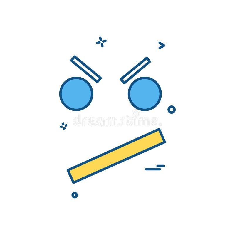 ilsken vektor för smileysymbolsdesign royaltyfri illustrationer