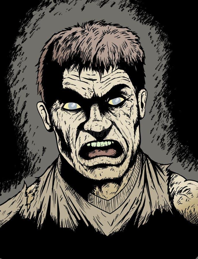ilsken zombie royaltyfri illustrationer