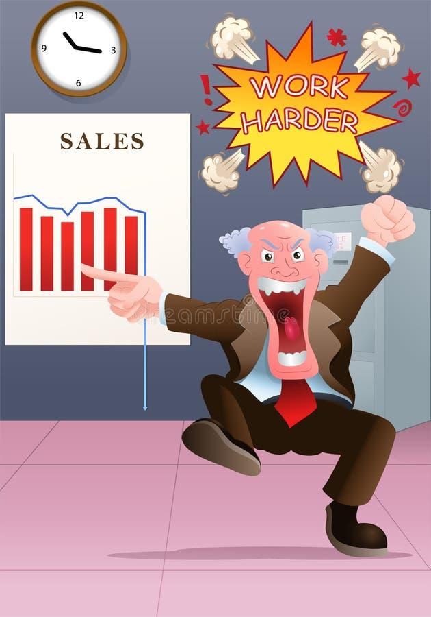 Ilsket framstickande som håller ögonen på det dåliga försäljningsdiagrammet royaltyfri illustrationer