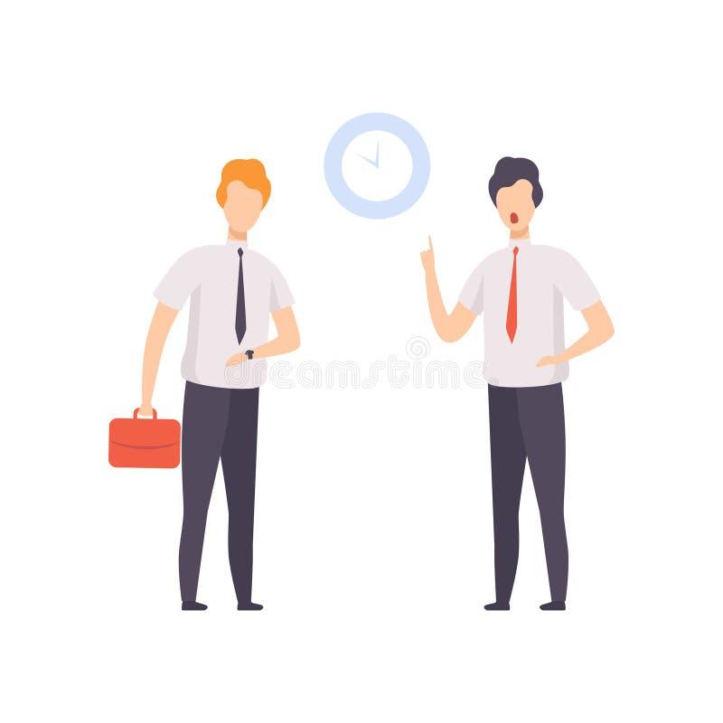 Ilsket framstickande som pekar till tid på klockan till anställd som kom att arbeta den sena vektorillustrationen på en vit bakgr stock illustrationer
