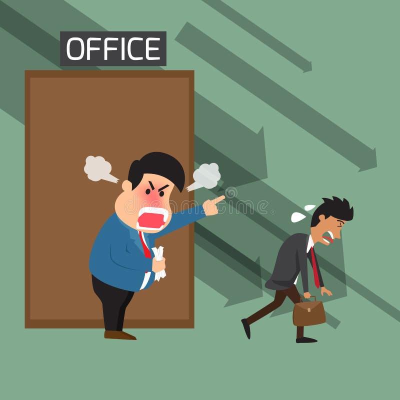 Ilsket framstickande som ropar till avfärdad anställd på kontoret och royaltyfri illustrationer