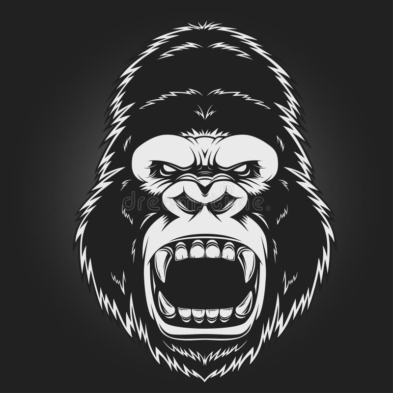 Ilsket gorillahuvud royaltyfri illustrationer