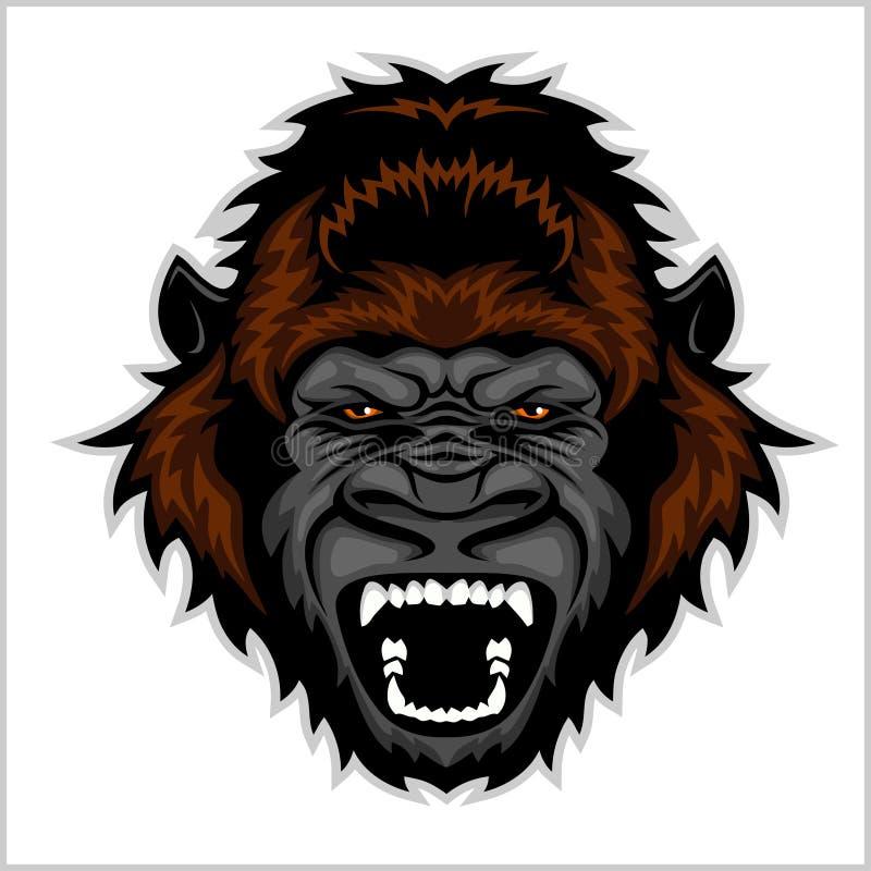 Ilsket gorillahuvud vektor illustrationer
