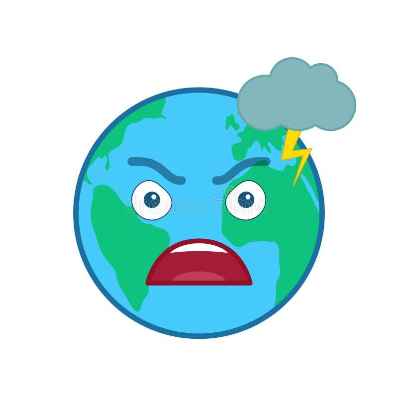 Ilsket isolerad emoticon för värld jordklot vektor illustrationer
