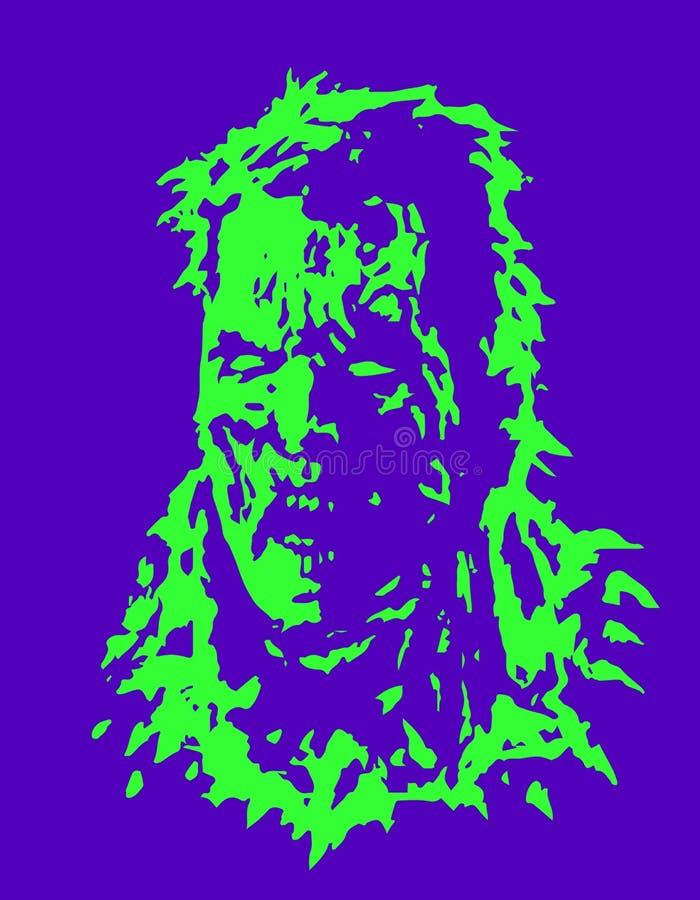 Ilsket levande dödhuvud också vektor för coreldrawillustration stock illustrationer