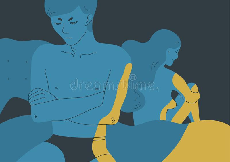 Ilsket naket sitta för man som och för kvinna är bortvänt på motsatta sidor av säng Begrepp av det sexuella problemet between royaltyfri illustrationer