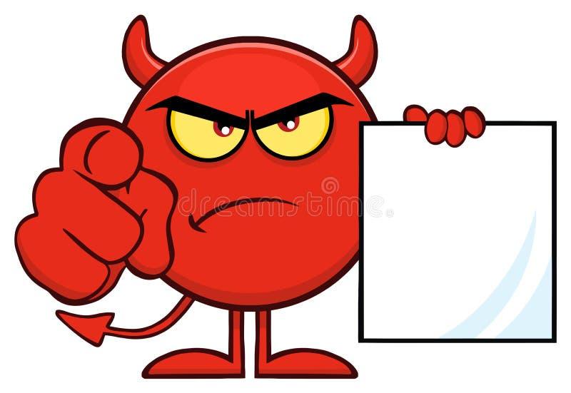 Ilsket tecknad filmEmoji för röd jäkel som tecken pekar med fingret och innehavet en tom allsång royaltyfri illustrationer