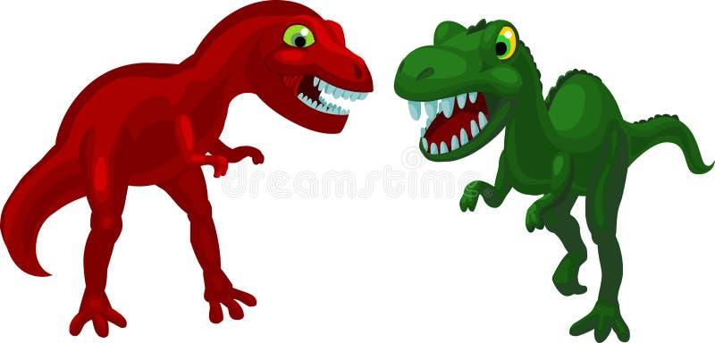 ilskna dinosaurs två royaltyfri illustrationer