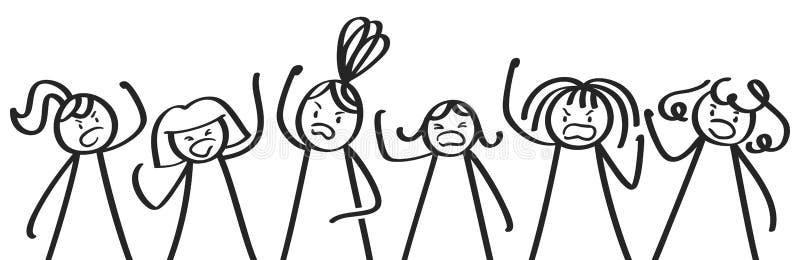Ilskna kvinnor som protesterar, pinnediagram som ser tokiga lyftande nävar, kvinnors rätter vektor illustrationer