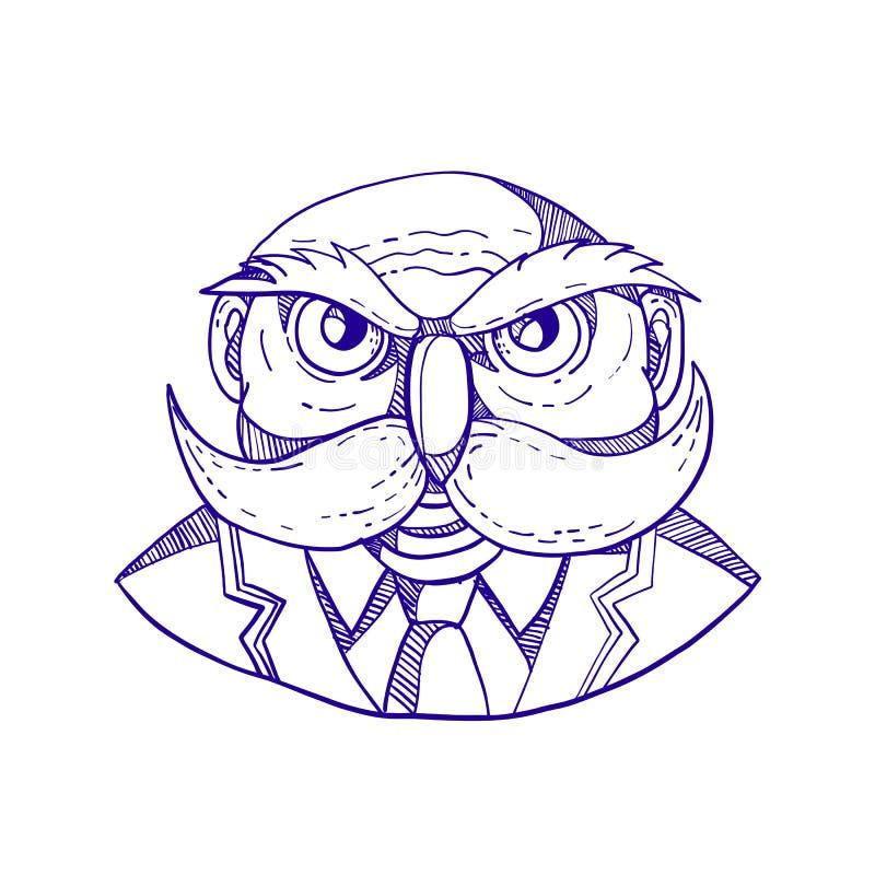 Ilskna Owl Man Mustache Doodle royaltyfri illustrationer