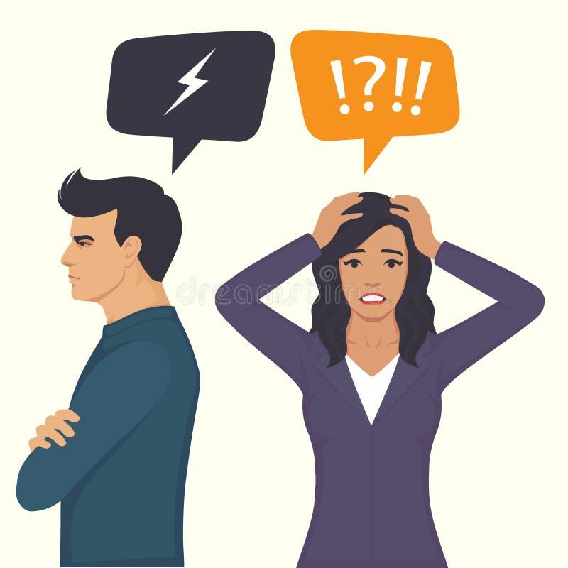 Ilskna par slåss, föräldrar skilsmässa, mannen och det kvinnakonflikt-, fru- och makeförhållandet, stock illustrationer