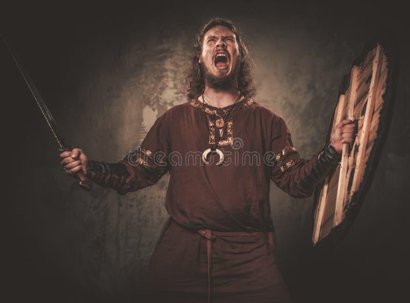 Ilskna viking med svärdet i traditionell kläder för en krigare som poserar på en mörk bakgrund royaltyfria bilder