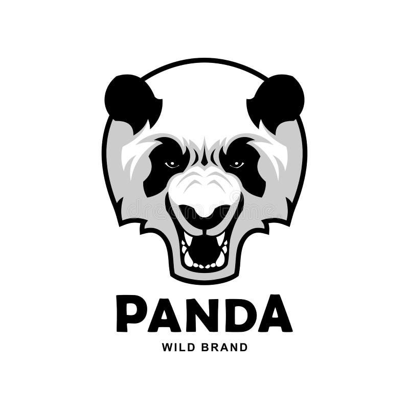 Ilskna vråla Panda Head Vector Mascot Character stock illustrationer