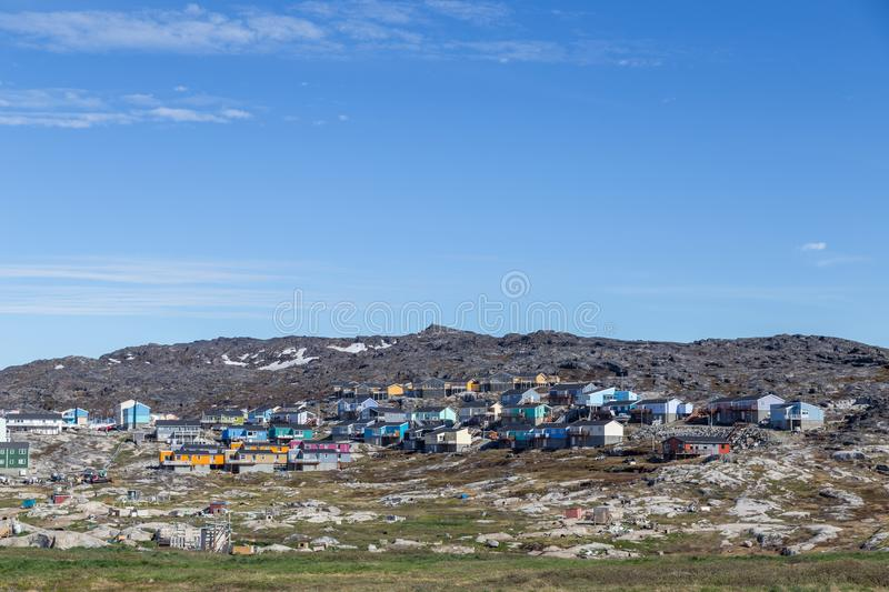 Colorful houses in Ilulissat, Greenland royalty free stock photography